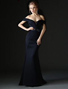 Formal Evening Dress - Ink Blue Trumpet/Mermaid Off-the-shoulder Sweep/Brush Train Polyester