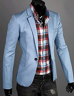 Men's Solid Casual Blazer,Cotton Long Sleeve Black / Blue / Green / White