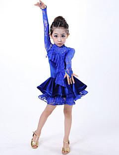 Taniec latynoamerykański Suknie Dla dzieci Wydajność Zasznurować Zasznurować 1 sztuka Długi rękaw Naturalny SukienkiS:52cm M:60cm L:62cm