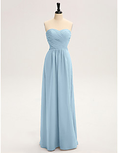 Lanting Bride® Floor-length Chiffon Bridesmaid Dress - Sheath / Column Strapless with Criss Cross