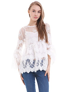 Women's Casual/Daily Simple Summer Blouse,Solid Round Neck Long Sleeve White / Black Silk / Polyester Sheer