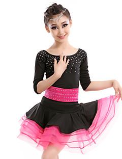 Latin Dance Dresses Children's Performance Milk Fiber Crystals/Rhinestones 2 Pieces Black Latin Dance Dress / Belt