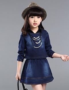 Mädchen Kleid / Jeans einfarbig Acryl Ganzjährig Blau