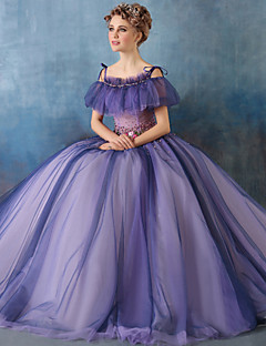 Formal Evening Dress Ball Gown Spaghetti Straps Court Train Tulle / Charmeuse with Beading / Flower(s) / Pearl Detailing / Ruffles