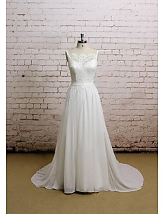 A-line Wedding Dress - White Chapel Train Scalloped-Edge Chiffon / Satin