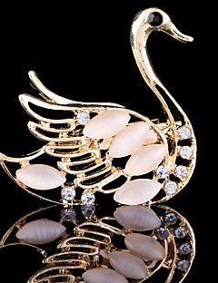 Women's Crystal Swan Animal Brooch for Wedding Party Decoration Scarf ,Fine Jewelry,Random Color
