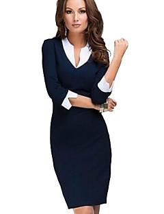 Assymmetrisch - Polyester / Katoen / Overige Tot de knie - Vrouwen - Jurk - Driekwart mouw