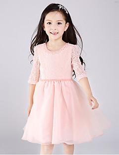 A-line Short/Mini Flower Girl Dress - Lace / Tulle Half Sleeve