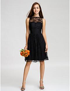 Lanting Bride® Knee-length Lace Bridesmaid Dress - A-line Bateau with Lace
