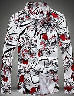 남성 프린트 긴 소매 셔츠 캐쥬얼/데일리 플러스 사이즈 면