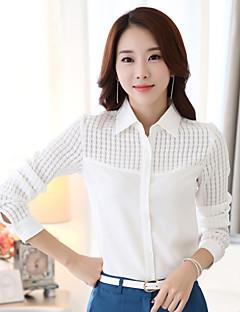 Langærmet Krave Medium Kvinders Hvid Ensfarvet Forår Plusstørrelser Arbejde Skjorte,Polyester