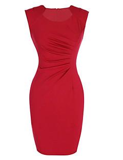 Mulheres Vestido Bainha Sexy Sólido Altura dos Joelhos Decote Redondo Rayon / Poliéster