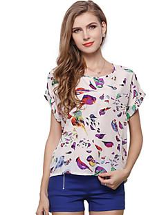 Djurtryck Kortärmad T-shirt Kvinnors Rund hals Polyester