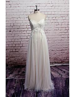 Sheath/Column Wedding Dress - Champagne Floor-length V-neck Satin / Tulle