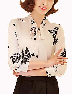 Camicia Da donna Casual Semplice Primavera,Tinta unita Colletto alla coreana Altro Blu / Nero Manica lunga Medio spessore