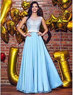 Formal Evening Dress - Plus Size / Petite A-line / Princess Scoop Floor-length Chiffon