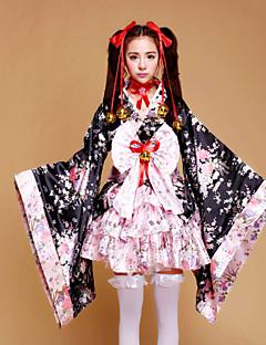 Uma-Peça/Vestidos Doce / Wa Lolita Cosplay Vestidos Lolita Rosa Patchwork / Estampado Manga Comprida Comprimento Médio Vestido Para