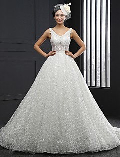 A-line Wedding Dress Chapel Train V-neck Lace with Sash / Ribbon