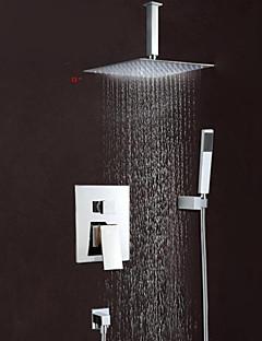 コンテンポラリー 壁式 滝状吐水タイプ レインシャワー with  真鍮バルブ 三つ シングルハンドル三穴 for  クロム , シャワー水栓 浴槽用水栓