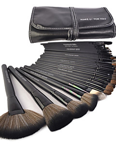 Make-up für You® 32 Stk. Make-up Pinsel aus Ponyhaar im Set, Schwarze Foundation / Puder / Rougepinsel / Stirn / Wimpern / Eyeliner