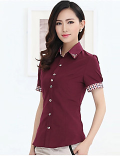 Mulheres Camisa Trabalho Plus Sizes / Simples Verão,Patchwork Vermelho / Branco / Preto Algodão Gola Peter Pan Manga Curta Média