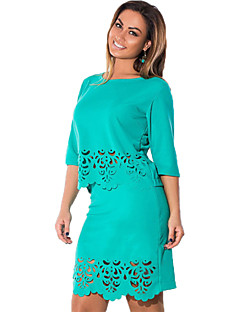 Women's Solid Blue / Red / Black / Green Set , Round Neck ½ Length Sleeve