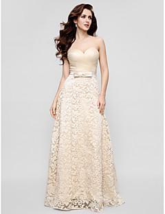동창회 공식적인 저녁 드레스 - 샴페인 칼집 / 열 연인 바닥 길이 레이스