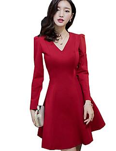 Sexig Mantel Enfärgad Klänning Kvinnors V-hals Ovanför knäet Polyester