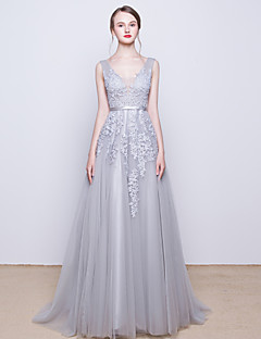 Cocktail Party / Formal Evening Dress - Silver  V-neck Sweep/Brush Train Tulle