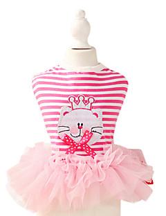 Собаки Платья Розовый Одежда для собак Лето / Весна/осень Полоски Мода