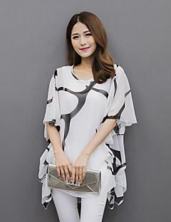 Mulheres Blusa Casual Plus Sizes Verão,Estampado Branco / Preto Poliéster Decote Redondo Manga Curta Média