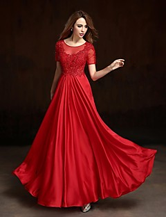 Prom / Formal Evening Dress A-line Jewel Floor-length Charmeuse with Appliques / Beading / Crystal Detailing / Flower(s) / Sequins
