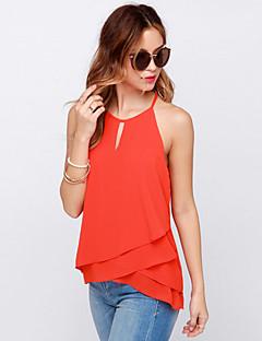 Enfärgad Ärmlös T-shirt Kvinnors Halterneck Polyester / Nylon