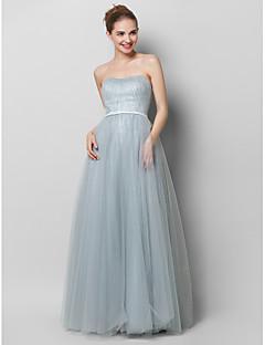 ts couture® prom avondjurk a-lijn strapless vloer-length kant / tule met draperen / kant