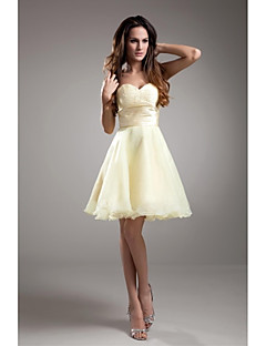 LAN TING BRIDE Knee-length Taffeta Bridesmaid Dress - A-line Strapless with Beading