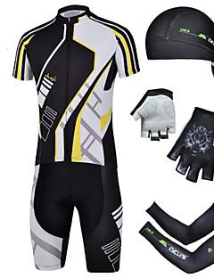 CHEJI® חולצת ג'רסי ומכנס קצר לרכיבה לגברים שרוול קצר אופניים נושם / ייבוש מהיר / עמיד אולטרה סגול / 3D לוח / מגביל חיידקיםמכנסיים קצרים /