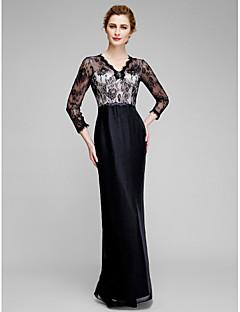 Lanting Sheath/Column Mother of the Bride Dress - Black Ankle-length 3/4 Length Sleeve Chiffon / Lace