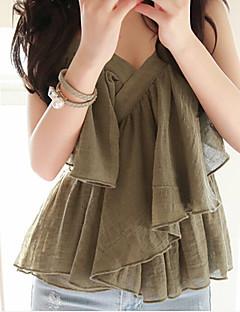 Mulheres Camiseta Com Alças Sem Manga Camadas / Frufru Algodão Mulheres