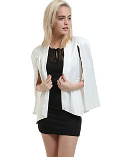 Mulheres Blazer Plus Sizes Outono,Sólido Rosa / Branco / Preto Poliéster Gola Boba Manga Longa Média