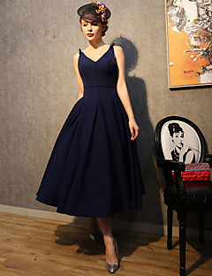 A-Line Spaghetti Straps Tea Length Polyester Satin Taffeta Cocktail Party Prom Dress with Bow(s)