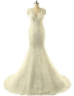 Trumpet/Mermaid Wedding Dress-Ivory Sweep/Brush Train V-neck Lace / Tulle