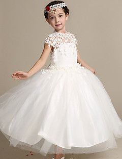Ball Gown Ankle-length Flower Girl Dress - Lace / Satin / Tulle Short Sleeve