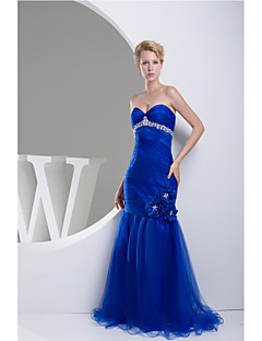 Evento Formal Vestido-Azul Real Trompeta/Sirena Hasta el Suelo-Corazón Tul