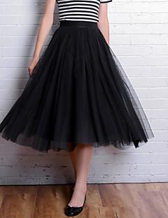 Women's Solid Black / Gray Skirts,Cute Knee-length