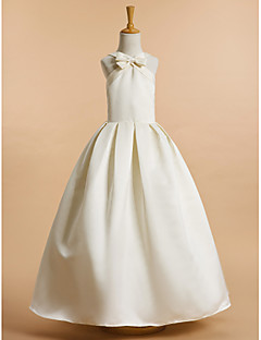 Lanting Bride A-line Ankle-length Flower Girl Dress - Satin Sleeveless V-neck with Bow(s)