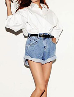 Fashion Style Women's Solid Blue Jeans / Shorts Pants,Casual / Day / Street chic Curling Denim Shorts Pants
