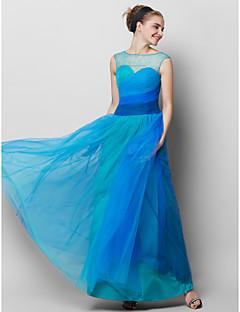 TS Couture Promoce Formální večer Šaty - Barevná záře A-Linie Bateau Po kotníky Tyl s Boční řasení