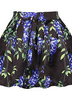 Women's Print White / Black Skirts,Sexy Mini