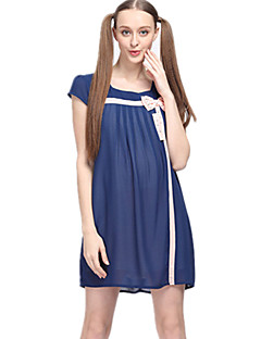 Decote Quadrado Vestido de maternidade Acima do Joelho Laço Poliéster Manga Curta