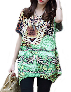 Women's Casual/Daily Boho / Street chic Summer T-shirt,Animal Print Round Neck Short Sleeve Green Rayon Thin